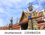 demon guardian at wat phra kaew ... | Shutterstock . vector #135486524
