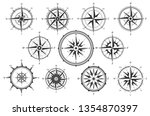 wind rose. map directions... | Shutterstock .eps vector #1354870397