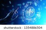 new year 2019 start button on... | Shutterstock . vector #1354886504
