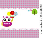 baby frame with owl  vector eps ... | Shutterstock .eps vector #135490835