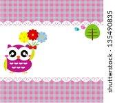 baby frame with owl  vector eps ... | Shutterstock .eps vector #135490835