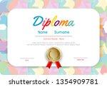 certificates kindergarten and... | Shutterstock .eps vector #1354909781