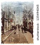 illustration of city street.... | Shutterstock . vector #135494045