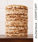 a stack of dietary round  airy  ... | Shutterstock . vector #1354971497