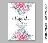 pink peony wedding invitation... | Shutterstock .eps vector #1354980014