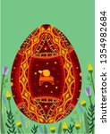 easter greeting card.... | Shutterstock .eps vector #1354982684