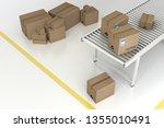 cardboard box on roller... | Shutterstock . vector #1355010491