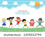 kids jumping on the park ... | Shutterstock .eps vector #1355013794