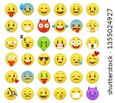 emoticons set. emoji faces... | Shutterstock .eps vector #1355024927