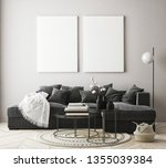 mock up poster frame in modern... | Shutterstock . vector #1355039384