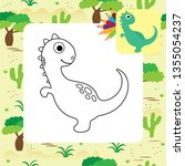 cute dino coloring page. | Shutterstock .eps vector #1355054237