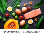 ketogenic products for healthy  ... | Shutterstock . vector #1355073014