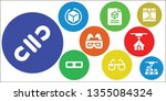 dimensional icon set. 9 filled... | Shutterstock .eps vector #1355084324