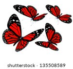 Red Butterflies Isolated On...