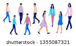 group of walking people... | Shutterstock .eps vector #1355087321
