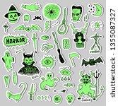 horror set of halloween doodle... | Shutterstock .eps vector #1355087327