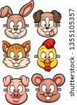 cartoon animal faces for kids... | Shutterstock .eps vector #1355105357