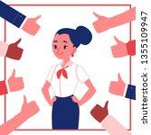 vector young female employee... | Shutterstock .eps vector #1355109947