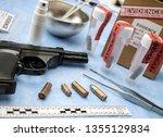 Criminalistic Laboratory, Bullet shell analysis, rule of ballistic measurement, conceptual image