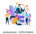 businessman speaking at huge... | Shutterstock .eps vector #1355133644