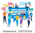 crowd of people stand with... | Shutterstock .eps vector #1355137424