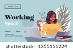 working space landing page... | Shutterstock .eps vector #1355151224