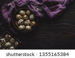 organic quail eggs in wooden... | Shutterstock . vector #1355165384