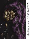 organic quail eggs in wooden... | Shutterstock . vector #1355167757