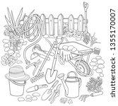 gardening hand drawn vector... | Shutterstock .eps vector #1355170007