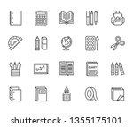 school supplies flat line icons ... | Shutterstock .eps vector #1355175101