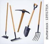 gardening tools. vector. | Shutterstock .eps vector #135517514