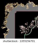golden elements in baroque ... | Shutterstock . vector #1355256701