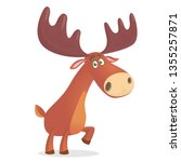cartoon funny moose. vector... | Shutterstock .eps vector #1355257871