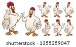 Cartoon Rooster And Chicken...
