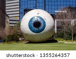 Small photo of Dallas, Texas - March 16, 2019: The Giant Eyeball is a statue in downtown Dallas, Texas, located at the Joule Hotel yard.