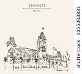 Chennai (Madras), Tamil Nadu, India. Central railway station. Beautiful British era colonial building in India. Travel sketch. Hand drawing. Vintage hand drawn Chennai postcard. Vector illustration