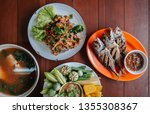 Stock photo nam prik pla to fried fish spicy fish salad tom yum soup thai street food lunch set and fresh 1355308367