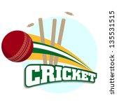 cricket batsman in playing... | Shutterstock .eps vector #135531515