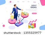 money idea compare layout. hold ... | Shutterstock .eps vector #1355325977