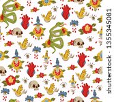 seamless pattern with hand... | Shutterstock .eps vector #1355345081