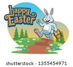 easter bunny carry basket of... | Shutterstock .eps vector #1355454971