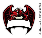 angry dragon mascot with blank... | Shutterstock .eps vector #1355454974