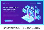 data protection. laptop with... | Shutterstock .eps vector #1355486087