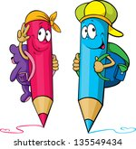 colored pencils cartoon with... | Shutterstock .eps vector #135549434