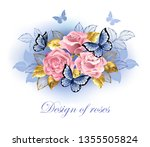 Three Pink Roses With Blue And...