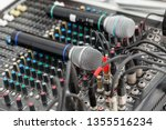 microphone close up. focus on... | Shutterstock . vector #1355516234