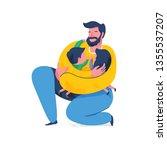 loving father hugging children. ... | Shutterstock .eps vector #1355537207