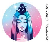 aquarius zodiac sign artwork ... | Shutterstock . vector #1355552591