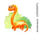 Orange Long Neck Dinosaur Near...
