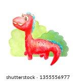 Red Kind Happy Dinosaur Near...